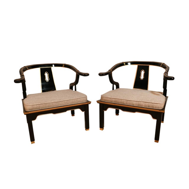 Chinese Style Black Horseshoe Chairs James Mont for Century For Sale