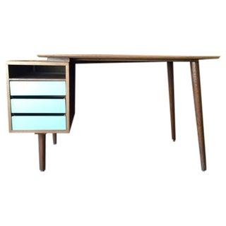 Mid Century Style Custom Walnut Desk For Sale