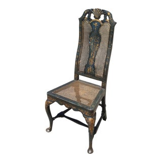 Antique Blue & Gilt Chinoiserie Chair For Sale