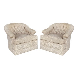 Upholstered Swivel Club Chairs W/ Tufted Backs-A Pair For Sale