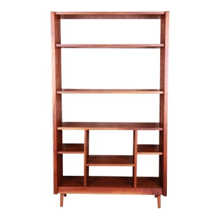 Custom Studio Crafted Hand Made Mid-Century Modern Solid Walnut Étagère or Room Divider For Sale
