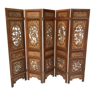 Chinese Hand Carved Rosewood 5 Panel Room Divider Screen For Sale