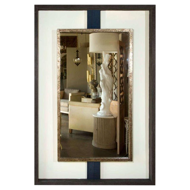 Dark Gray Paul Marra Negative Space Distressed Finish & Horsehair Mirror For Sale - Image 8 of 8