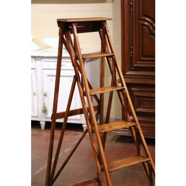 French 19th Century French Napoleon III Carved Walnut Folding Library Six-Step Ladder For Sale - Image 3 of 11