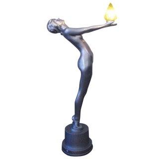"Art Deco ""Clarte"" Biba Nude Floor Lamp in the Style of Max Le Verrier For Sale"
