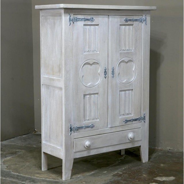 French Antique Rustic Country French Painted Gothic Cabinet For Sale - Image 3 of 10