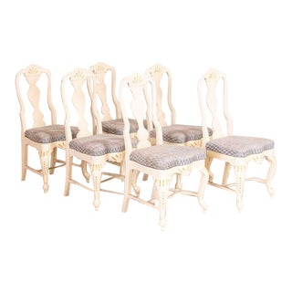 Antique White Painted Dining Chairs - Set of 6 For Sale