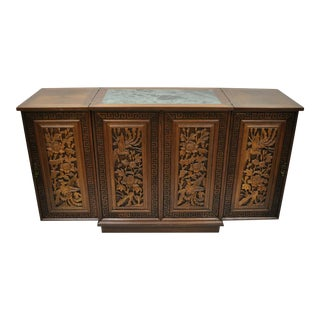 Vintage Carved Chinese Oriental Folding Expandable Bar Liquor Cabinet Server For Sale