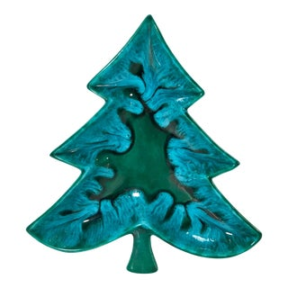 20th Century Americana Holiday Tree Ceramic Snack Dish For Sale