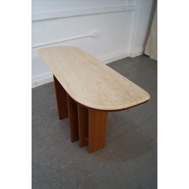 Danish Travertine Top Teak Base Console Table - Image 7 of 9