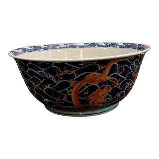 Chinoiserie Blue & White Wave Motif Bowl For Sale