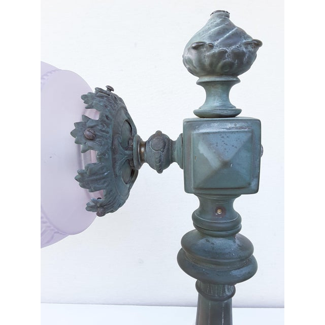 French Antique French Parisienne Street Lantern in Solid Bronze For Sale - Image 3 of 11
