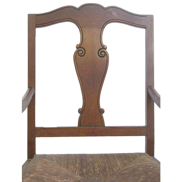English Arts & Crafts Rush Seat Arm Chair For Sale - Image 4 of 9
