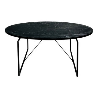 Contemporary Black Oval Stone Coffee Table For Sale