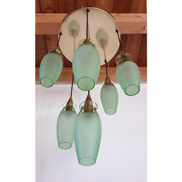 Metal Italian Mid-Century Modern Brass & Glass Flush Mount, Arredoluce For Sale - Image 7 of 13