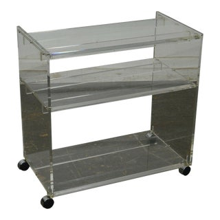 Mid Century Modern Lucite 3 Tier Serving Cart For Sale