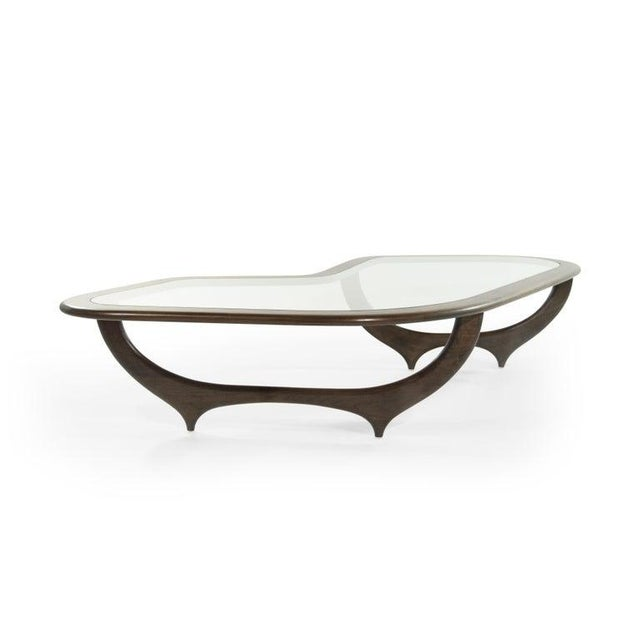Italian Large Scale Sculptural Walnut Coffee Table, Italy, 1950s For Sale - Image 3 of 13