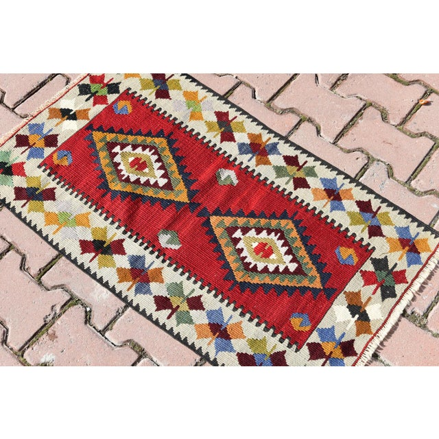 Turkish Tribal Hand-Knotted Kilim Rug - 1′10″ × 3′4″ For Sale - Image 4 of 6