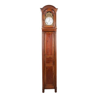 19th Century French Louis Philippe Walnut Tall Case Clock For Sale