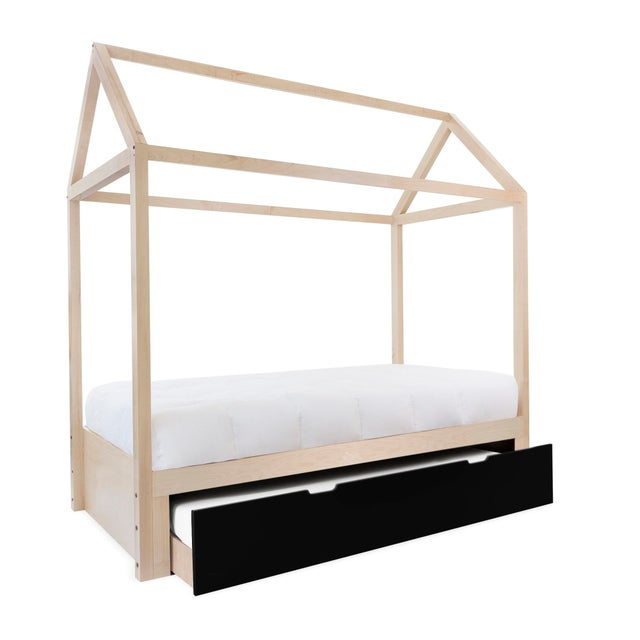 Contemporary Domo Zen Twin Trundle Canopy Bed in Maple With Black Finish For Sale - Image 3 of 3