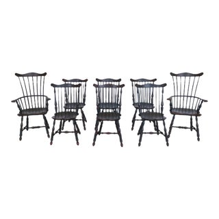 Paint Decorated Fan Back Windsor Dining Chairs - Set of 8