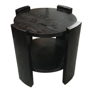 Monumental French Art Deco Solid Ebonized Cerused Oak Coffee Table Circa 1940s.