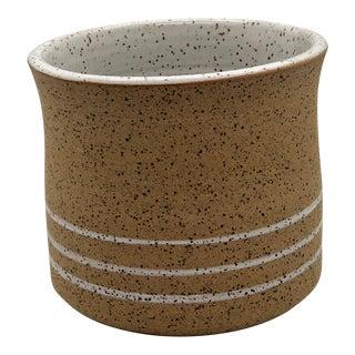 Handmade Ceramic With White Stripe Design Wheel Thrown Speckled Plante