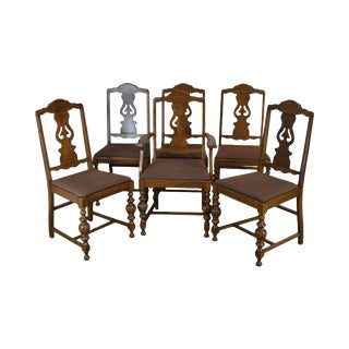 Depression Era Antique 1920's Set 6 Walnut Dining Chairs For Sale