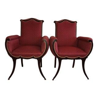 Grosfeld House Hollywood Regency Mahogany Saber Leg Fireside Chairs - a Pair For Sale