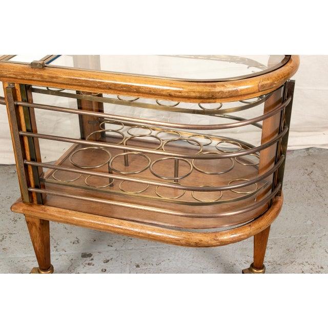 Gold Vintage Walnut and Bronze Bar Cart For Sale - Image 8 of 10