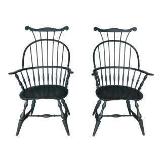 Nichols & Stone High Comb Back Windsor Style Arm Chairs - a Pair For Sale