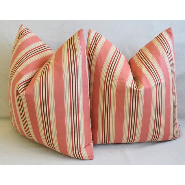 "French Multi Coral Striped Ticking Feather/Down Pillows 23"" Square - Pair For Sale - Image 9 of 11"