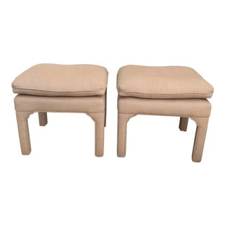 Vintage Upholstered Pillow Top Parsons Benches - a Pair For Sale