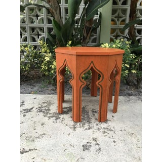 1970s Moroccan Orange Solid Wood End Table Preview
