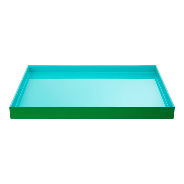 Pentreath & Hall Collection Medium Tray in Kelly Green / Tiffany Blue For Sale