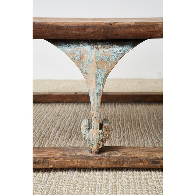 Turquoise Monumental Weathered Pine Coffee Cocktail Table For Sale - Image 8 of 13