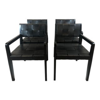 Ralph Lauren New Safari Leather Arm Chairs- Set of 4 For Sale