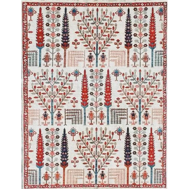Wheatfield in Ivory Afghan Rug - 8′ × 10′ For Sale - Image 4 of 4