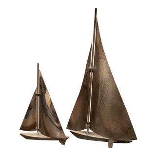 Mid-Century Modern Silver Tone Sailboat Figurines- A Pair For Sale
