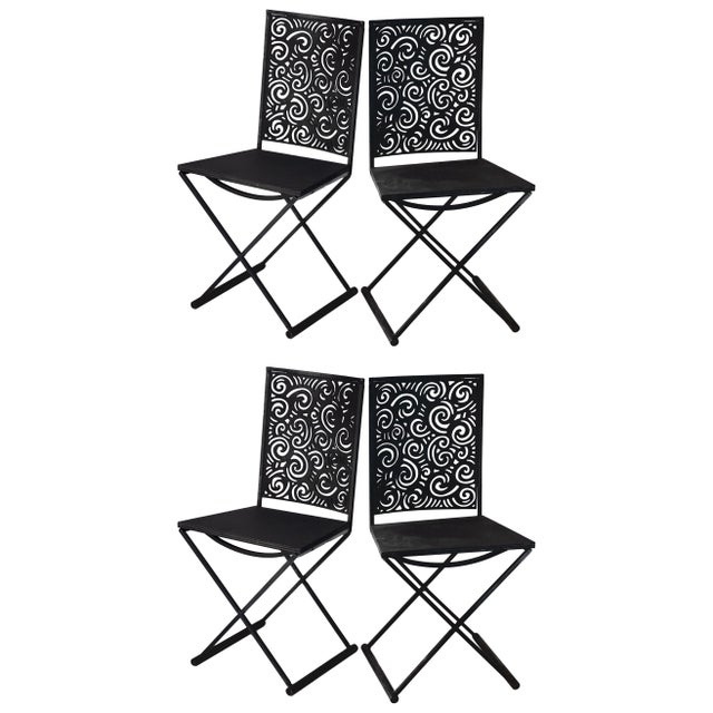 Artisan Torch Cut Iron/Steel Chairs - Set of 4 For Sale - Image 10 of 10