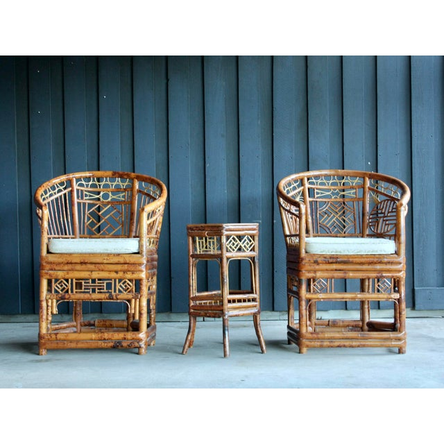 Asian Pair of Brighton Pavillion Bamboo Chairs With Table, Set of 3 For Sale - Image 3 of 13
