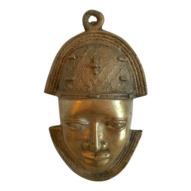Vintage Brass African Mask For Sale