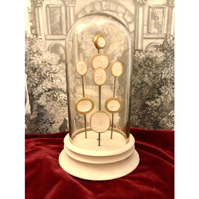 1900 Italian Glass Dome With 8 Grand Tour Intaglios Composition on Stand For Sale - Image 10 of 13