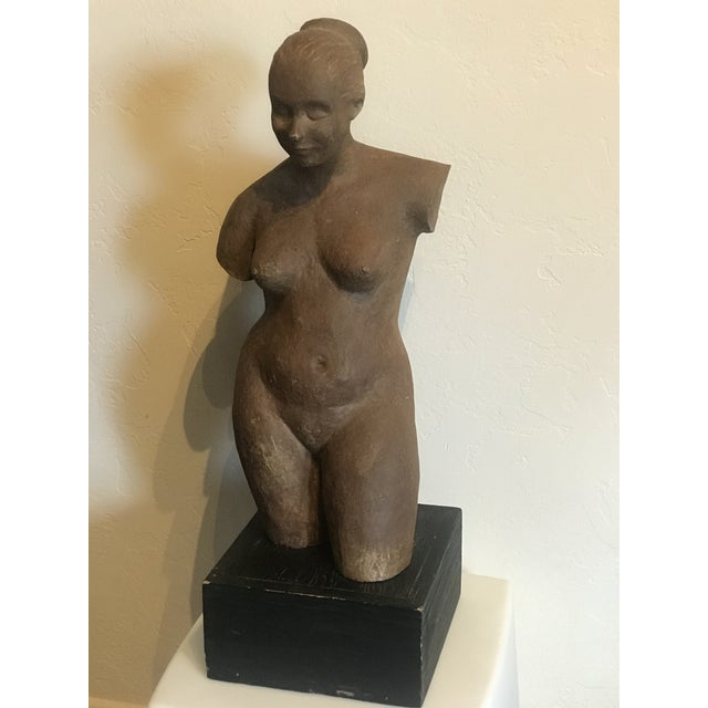 Nude woman terracota sculpture Age patina 1970's 29 Inches tall