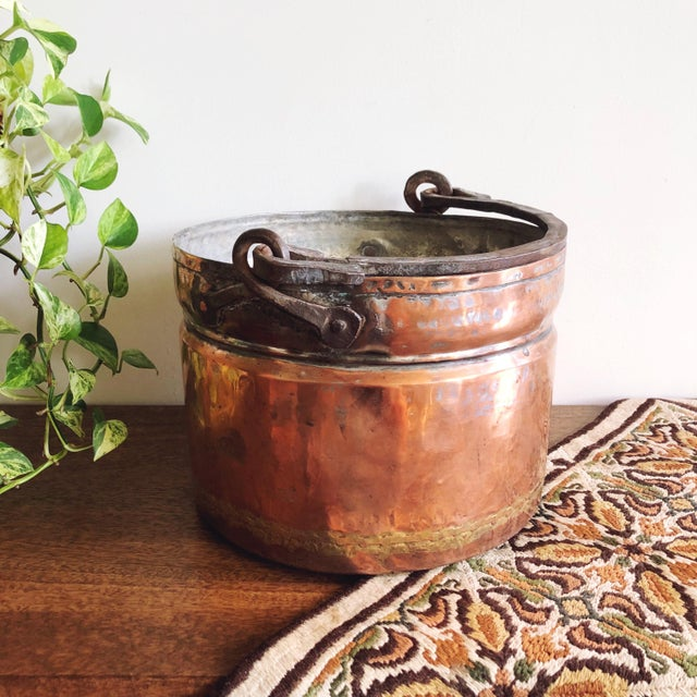 Metal Antique French Copper Pot With Hand-Forged Iron Handle For Sale - Image 7 of 7