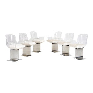 Pace Collection Lucite Swivel Dining Chairs, Model No. 171 For Sale