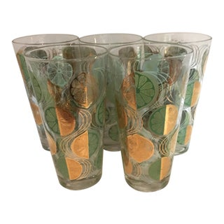 1960s Mid-Century Modern Highball Glasses - Set of 5 For Sale