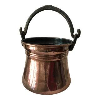 Antique Copper Pot With Cast Iron Handle For Sale