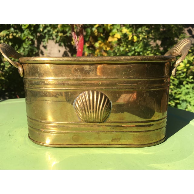 1960s Hollywood Regency Brass Oblong Planter With Shell Detail and Handles For Sale - Image 10 of 10