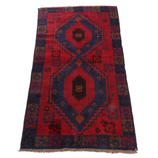 Vintage Mid-Century Hand-Knotted Persian Baluch Rug - 3′3″ × 6′3″ For Sale
